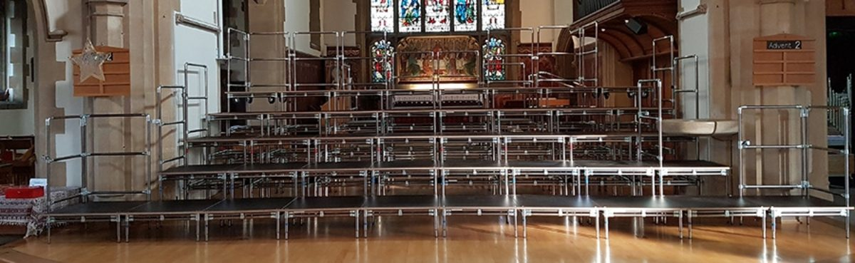 custom tiered staging for a church